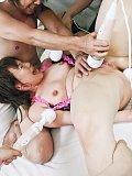 Kana Mimura Asian with hard nipples gets three vibrators on pussy