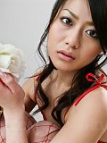Hina Aisawa Asian in red fishnet and lingerie sucks stiffy so hot