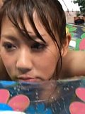 Ageha Kinoshita Asian with round tits rides bonet at the pool