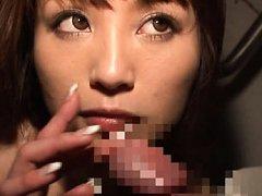 Maomi Nagasawa Asian plays with long nails and ton...