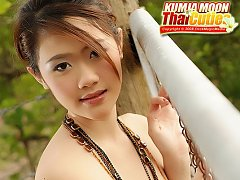 Asian Cutie Kimja Moon Strips Sheer Top And Shorts