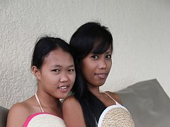 Hot threesome with two Filipina girls after swimmi...
