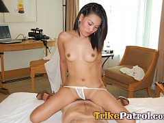 Wild Asian slut fucks and drinks cum after meeting...
