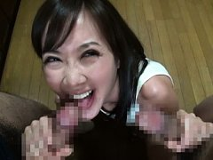 Rei Aimi Asian is happy to stroke and suck tool wh...