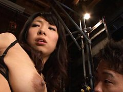 Yui Tanaka Asian has big cans tocuhed with face by...