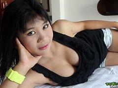Cute Thai babe with gorgeous big boobs enjoying he...